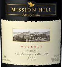 Mission Hill merlot reserve label